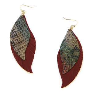 Earring 2340d 25 Tell Your Tale fringe cut feather snake earrings leather burgundy