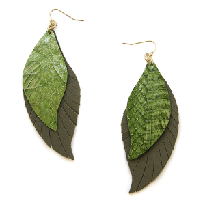 Earring 2344g 25 Tell Your Tale fringe cut feather snake earrings leather olive