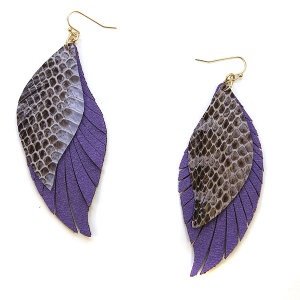 Earring 2336f 25 Tell Your Tale fringe cut feather snake earrings leather purple