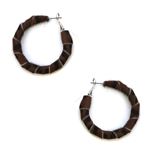 Earring 2628b 25 Tell Your Tale fuzzy hoop earrings leopard wrap