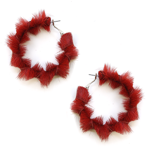 Earring 2630b 25 Tell Your Tale fuzzy hoop earrings burgundy
