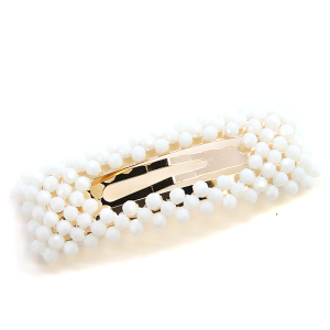 Hair Clip 268 25 Tell Your Tale bead accented hair clip ivory
