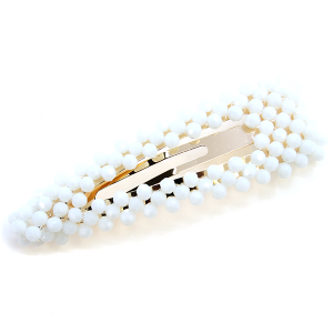 Hair Clip 261 25 Tell Your Tale bead accented hair clip ivory