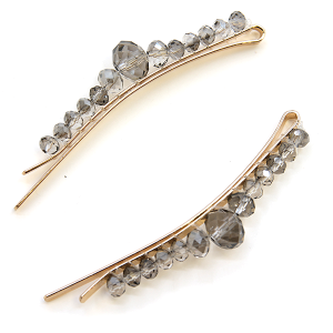 Hair Clip 230 25 Tell Your Tale two bead gem hair clips gray