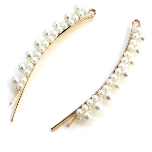 Hair Clip 227 25 Tell Your Tale two cream bead accented hair clips ivory