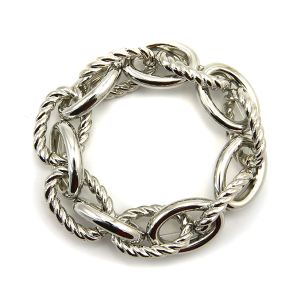 Bracelet 066a 25 Tell Your Tale stretch chain link bracelet silver