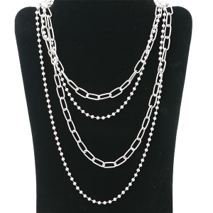 Necklace 1117 27 Garden Party contemporary multi layer necklace chain silver