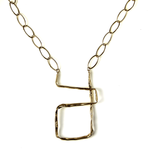 Necklace 004a 27 Garden Party abstract chain necklace gold