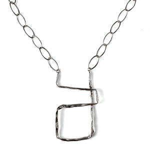 Necklace 007a 27 Garden Party abstract chain necklace silver