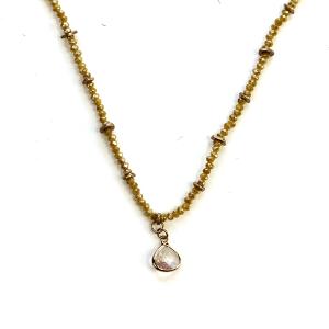 Necklace 1095c 27 Garden Party contemporary bead gem necklace yellow