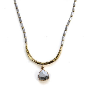 Necklace 1080i 27 Garden Party contemporary bead link gem necklace arc gray