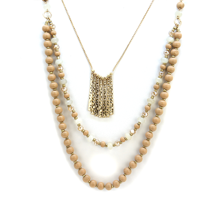 Necklace 1184m 27 Garden Party chic three layer bead necklace beige