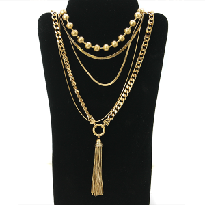 Necklace 1126 27 Garden Party contemporary multi layer necklace chain gold