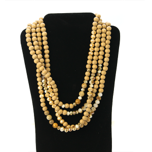 Necklace 1125 27 Garden Party contemporary multi layer bead necklace beige