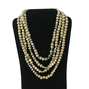 Necklace 1123 27 Garden Party contemporary multi layer bead necklace gray
