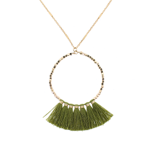 Fringe fan hoop necklace olive