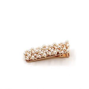 Hair clip 328 91 Mu Guan Rectangle shaped hair clip with pearls