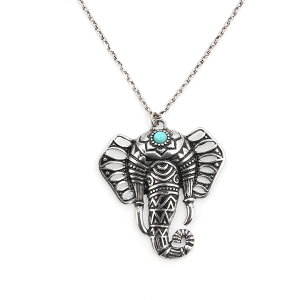 Necklace 068 33 Lucky You decorated elephant pendant silver