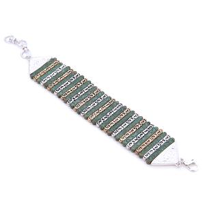 Bracelet 184a 33 Lucky You Filigree rectangle link chain bracelet silver gold patina
