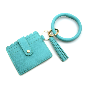 Keychain 185e 34 leatherette hoop card holder wallet turquoise