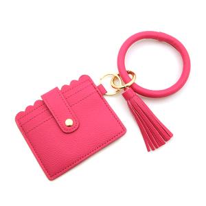 Keychain 184a 34 leatherette hoop card holder wallet pink