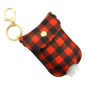Hand Sanitizer Keychain 111 34 buffalo plaid red