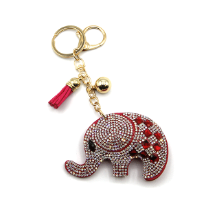 Keychain 099g 34 puffy elephant red pink