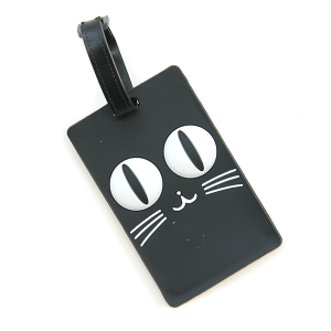 Luggage Tag 058 square face black cat luggage tag