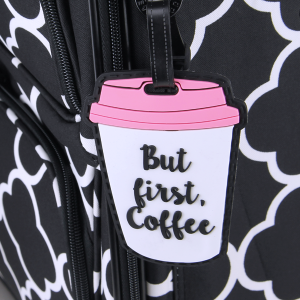 luggage tag 009 coffee pink white