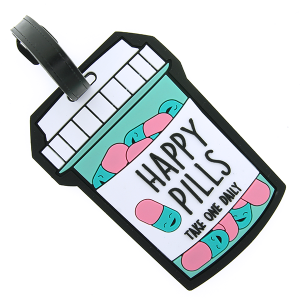 (Luggage Tag 040 34) Happy Pills