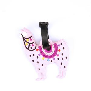 luggage tag 021a 34 llama multi pink