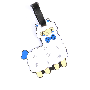 luggage tag 038 34 llama white blue