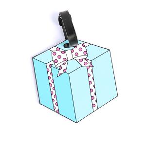 (Luggage tag 001r) Gift box polka dot tag