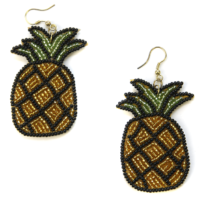 Earring 277a 34 Seed Bead pineapple earrings