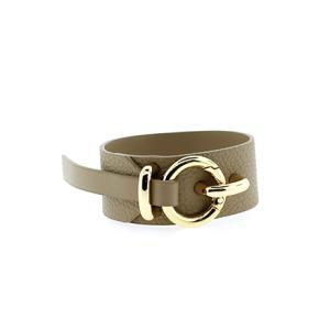 Bracelet 893 70 cuff wrap pebbled leather beige