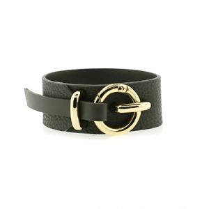 Bracelet 889a 70 cuff wrap pebbled leather black