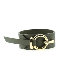 Bracelet 891 70 cuff wrap pebbled leather gray