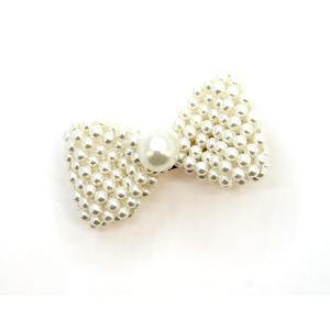 Hair 301a 36 Ivory ribbon bead hair clip