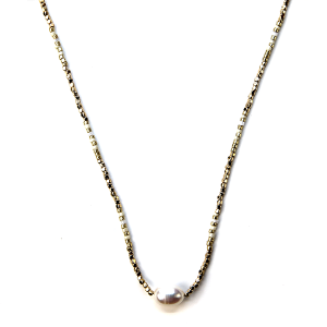 Necklace 683b 38 Mestiere contemporary pearl necklace ivory gold
