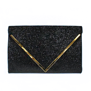 3AM PPC 3449 sequin envelope clutch black