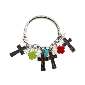 Bracelet 151 40 Icon Collection bangle cross charms multi silver