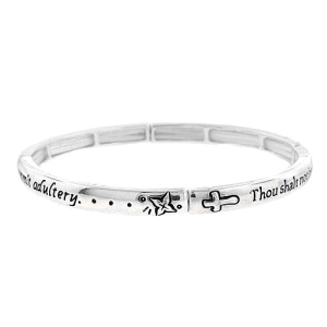 Bracelet 029b 40 Icon 6th commandment silver