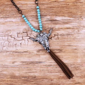 neck 1334 40 Icon Collection longhorn bead tassel gray turquoise