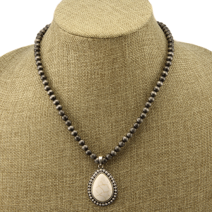 Necklace 1503a 40 Icon Collection navajo western tear drop charm white