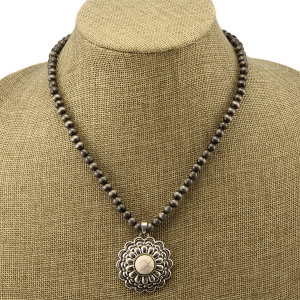 Necklace 1502a 40 Icon Collection navajo western floral concho charm white