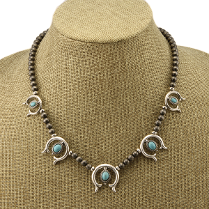 Necklace 1511a 40 Icon Collection navajo western horseshoe charms turquoise