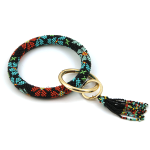 Keychain 010f 40 Icon Collection wrist keychain seed bead gold multi