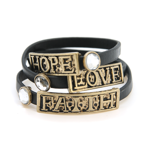 Bracelet 038 40 Icon Collection faith hope love leather strap bracelet