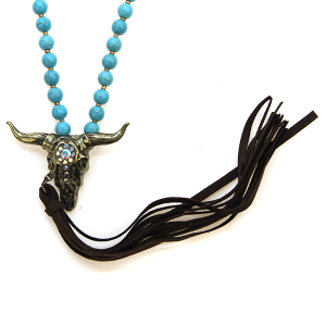 Necklace 995a 40 Icon Collection Bead Tassel Longhorn Necklace turquoise