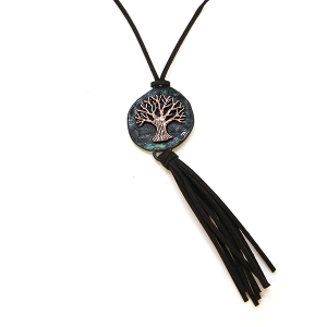 Necklace 580a 40 Icon Collection tree of life necklace tassel patina black